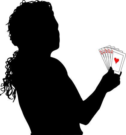 Female holding royal flush - vector photo