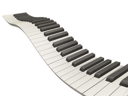 Wavy piano keys on white - 3D render Stock Photo - 407023