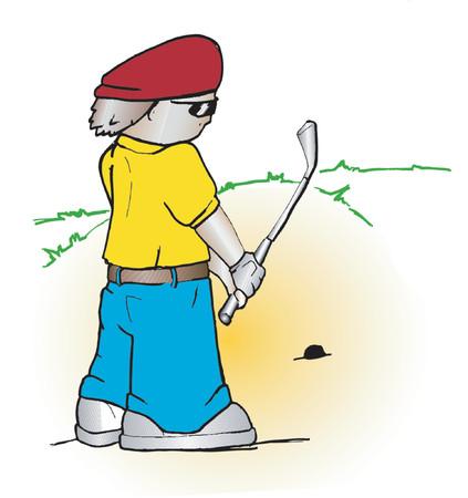 Cartoon golfer - vector Vector