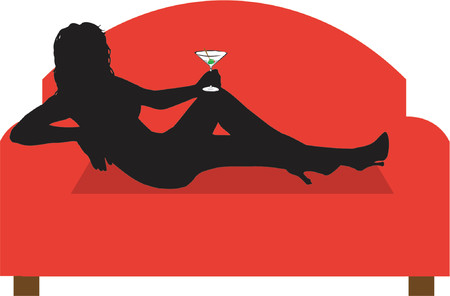 Relaxing on the sofa with a drink - vector Vector