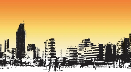 Benidorm, Spain grunge style - vector Illustration
