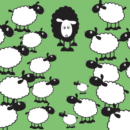 black sheep: Black sheep of the family - vector
