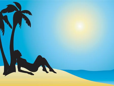 sunbathing: Female sunbathing - vector