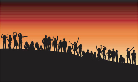 youngsters: Outdoor party - vector