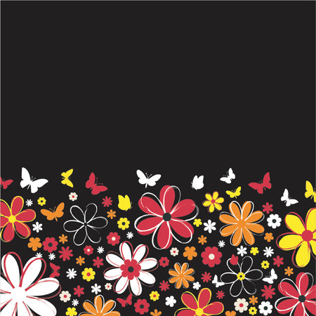 Flowers and butterflies - vector Stock Vector - 417254
