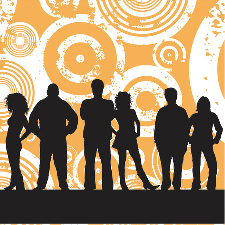 youngsters: Young people on grunge background - vector