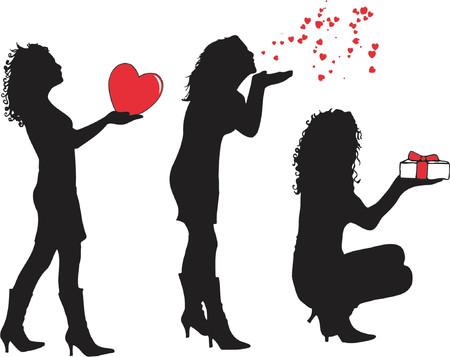 hot couple: Female Valentines - vector