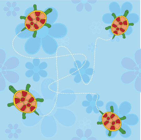 Flowers and turtles - vector Stock Vector - 418978
