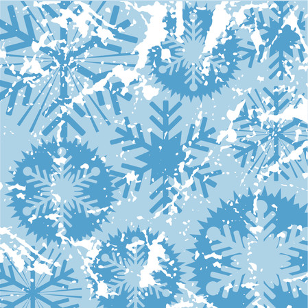 wintery: Grunge snowflake background - vector Illustration