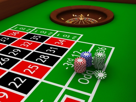 Gambling chips on roulette table - 3D render photo