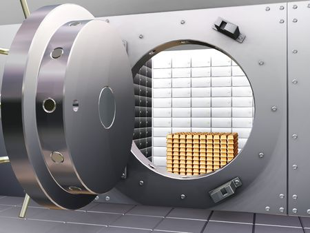 Open bank vault with gold bars - 3D render Stock Photo - 423568