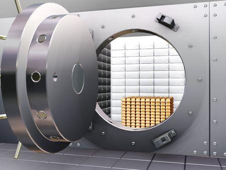 Cámara acorazada abierta del banco con las barras del oro - 3D rinden