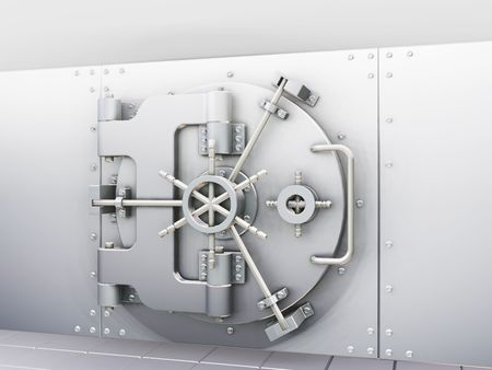 combination lock: Closed bank vault - 3D render