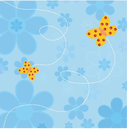 Flowers and butterflies - vector Stock Vector - 425280