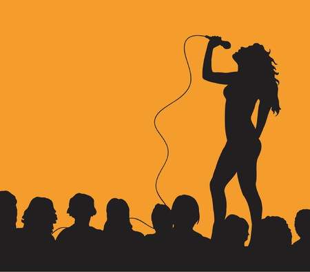 singing silhouette: Female singer with audience - vector