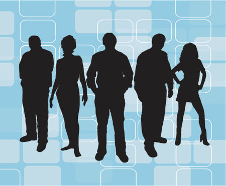 Young people on retro background - vector Vector