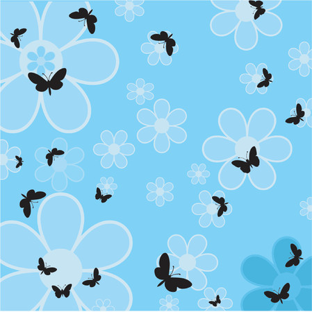 Flowers and butterflies - vector Stock Vector - 441002