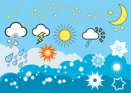 wintery: Weather icons - vector Illustration