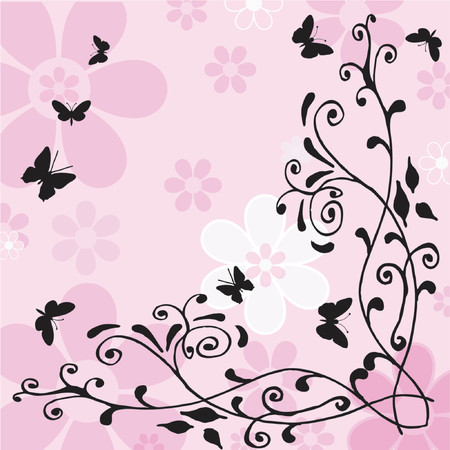 gentle: Flowers and butterflies - vector Illustration