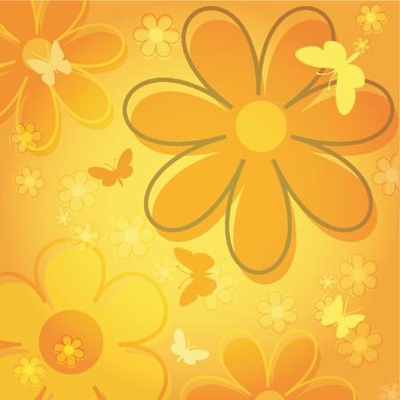 Flowers and butterflies - vector Vector