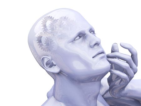 Man thinking with gears in head - 3D render photo