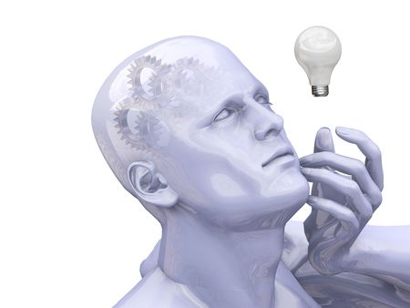 thinking machines: Man thinking with gears in head - 3D render