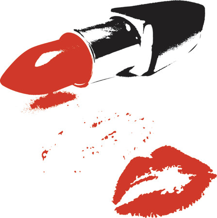 red lipstick: Red lipstick and kiss - vector