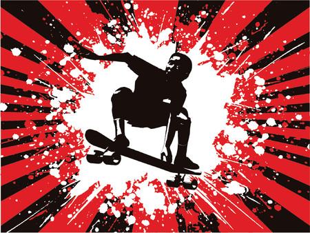 skater boy: Grunge skater boy - vector Illustration