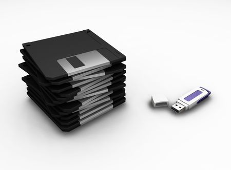 Floppy disks and USB pen drive - 3D render photo