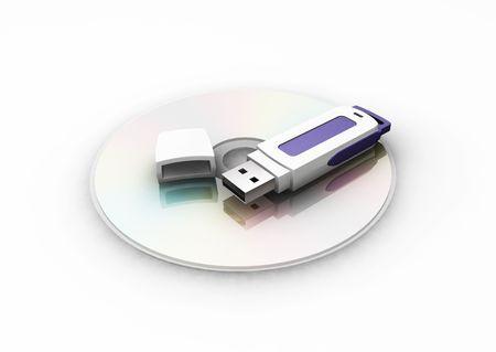 pen drive: USB pen drive on CD - 3D render