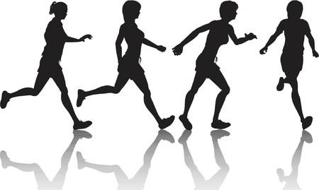 joggers: Female joggers - vector
