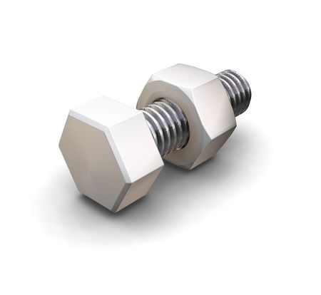 Nut and bolt - 3D render