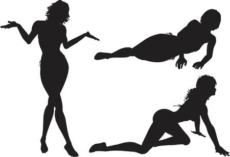 sexy girl posing: Sexy female poses - vector