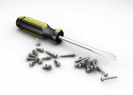 Screwdriver and screws - 3D render Stock Photo - 466653