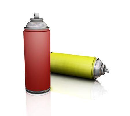the 3d: Latas del aerosol - 3D rinden Foto de archivo
