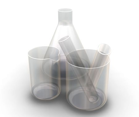 biology lab: Test tubes, beakers and flask - 3D render Stock Photo