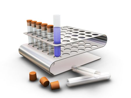 Test tubes in rack - 3D render Stock Photo - 466646