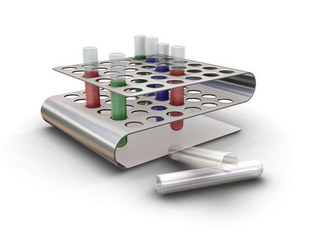 Test tubes in rack - 3D render Stock Photo - 466647