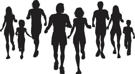 joggers: People jogging - vector Illustration