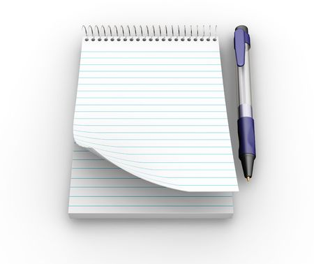 Notepad and pen - 3D render Stock Photo - 475185
