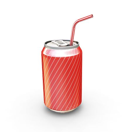 Soda can with straw - 3D render photo