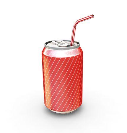 lata de refresco: Soda con paja puede - hacer 3D