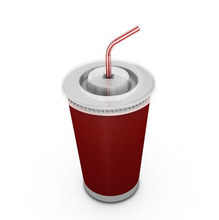 Soda drink with straw - 3D render photo