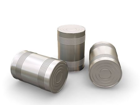 Tin cans - 3D render photo