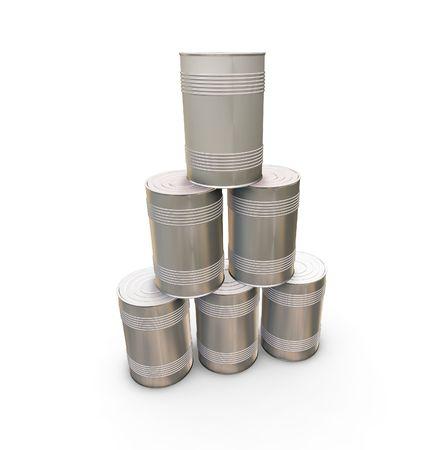 tin cans: Stapel blikjes - 3D render