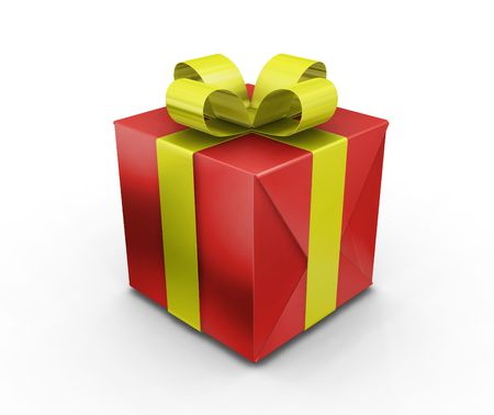 3D render of a wrapped gift photo