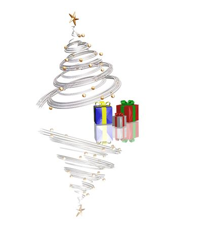 3D render of Christmas tree with gifts underneath it Stock Photo - 494591