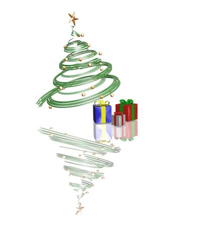 3D render of Christmas tree with gifts underneath it Stock Photo - 494592
