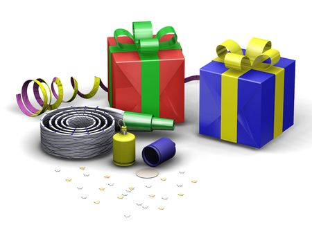 3D render of party objects Stock Photo - 494557