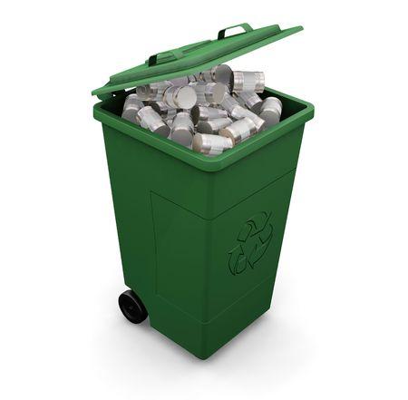 papelera de reciclaje: 3D hacen de un reciclaje wheelie bin lleno de latas